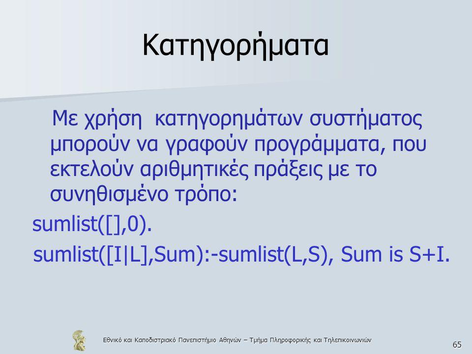 sumlist([I|L],Sum):-sumlist(L,S), Sum is S+I.